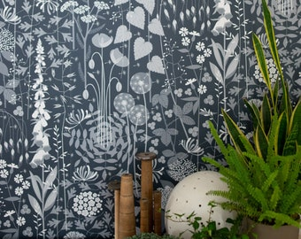 Hedgerow wallpaper in 'nocturne' by Hannah Nunn, a deep, dark blue botanical wall covering with a wild tangle of plants and flowers