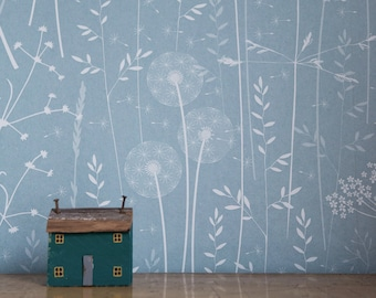 SAMPLE Paper Meadow wallpaper in 'Teal' by Hannah Nunn, a blue floral botanical wall covering with meadow seed heads and grasses