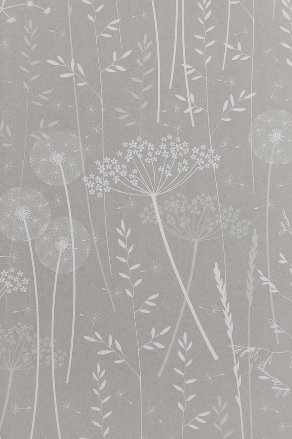 Dusky Grey Pink Blush Floral Meadow Botanical Dandelion Nature Patterned Wallpaper Roll Paper Meadow In Mallow By Hannah Nunn
