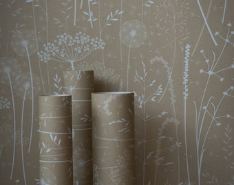 Beige Brown Tan Floral Tonal Botanical Dandelion Woodland Wallpaper // Paper Meadow in 'Kraft' by Hannah Nunn