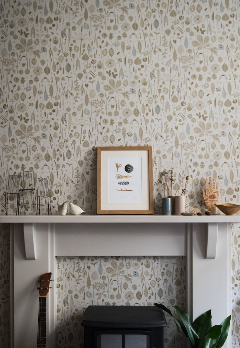 Gold Mustard Yellow Grey Floral Seed Pods Woodland Wallpaper Etsy