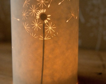 Floral Design Paper Candle Tea Light Cover / Gift Idea / Gift for Her / Dandelion Clock / Hannah Nunn