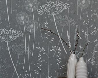 Dark Grey Charcoal Floral Botanical Tonal Dandelion Woodland Wallpaper // Paper Meadow in 'Charcoal' by Hannah Nunn