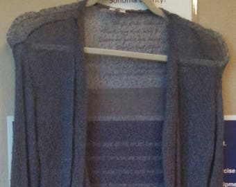 44.99 Long Slate Gray Cardigan Buttery Soft rayon natural fiber with long sleeves and detailed edging. One size fits all!