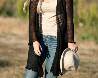 SALE 43.99 Buttery soft knit Black cardigan. Great for dinner out, yoga, birthday gift, vacation, zoom call, layering or anytime.