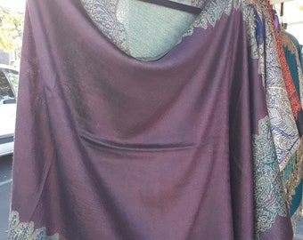 35.99   Buttery soft COZY poncho. Elegant mauve pink with border. Very flattering  wear  anywhere!