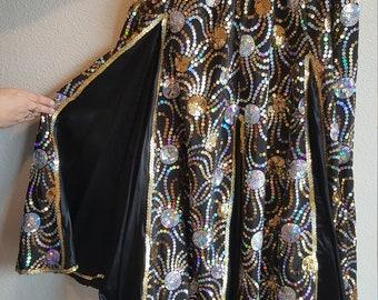 Black/Multi-color Sequined Panel Skirt