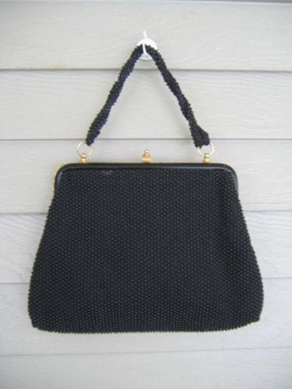 50s Black Beaded Handbag