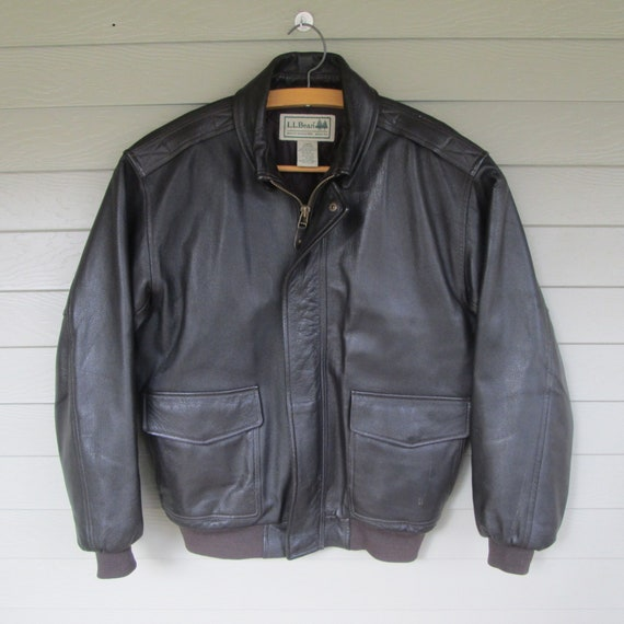 L.L.Bean Mens Dark Brown Leather Bomber Jacket - s
