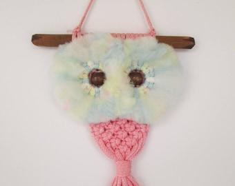 Pink Fuzzy Eyed Macrame Owl