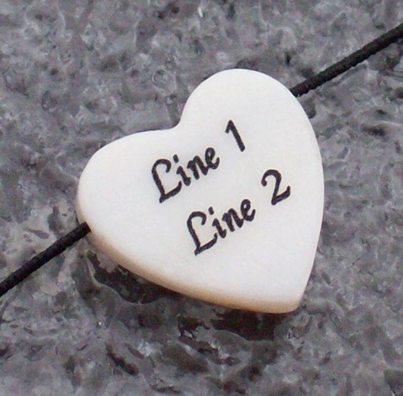 10 PERSONALIZED White Mother-of-pearl Shell Beads 20x15mm Custom Engraved