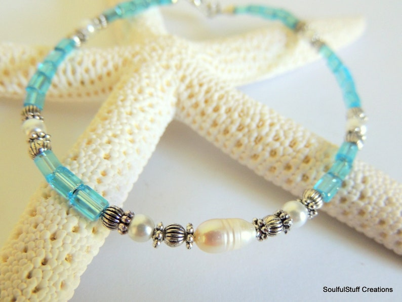 Pearl and Blue Anklet Wedding Jewelry Freshwater Pearl Ankle Bracelet