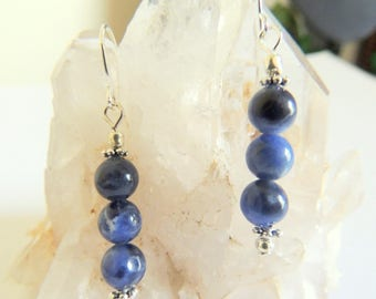 Sodalite Dangle Earrings, Sterling Silver