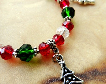 Christmas Holiday Charm Bracelet, Red and Green