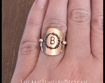 Copper Gothic Skull and Moth Saddle Ring