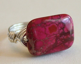 Adjustable Triangle Pink Variscite Stone Gold Plated Ring