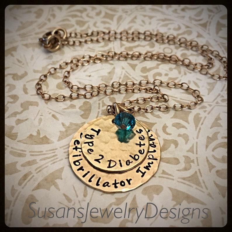 Custom medical alert necklace bronze medical alert medical ID defibrillator implant diabetic jewelry medical identification type 2