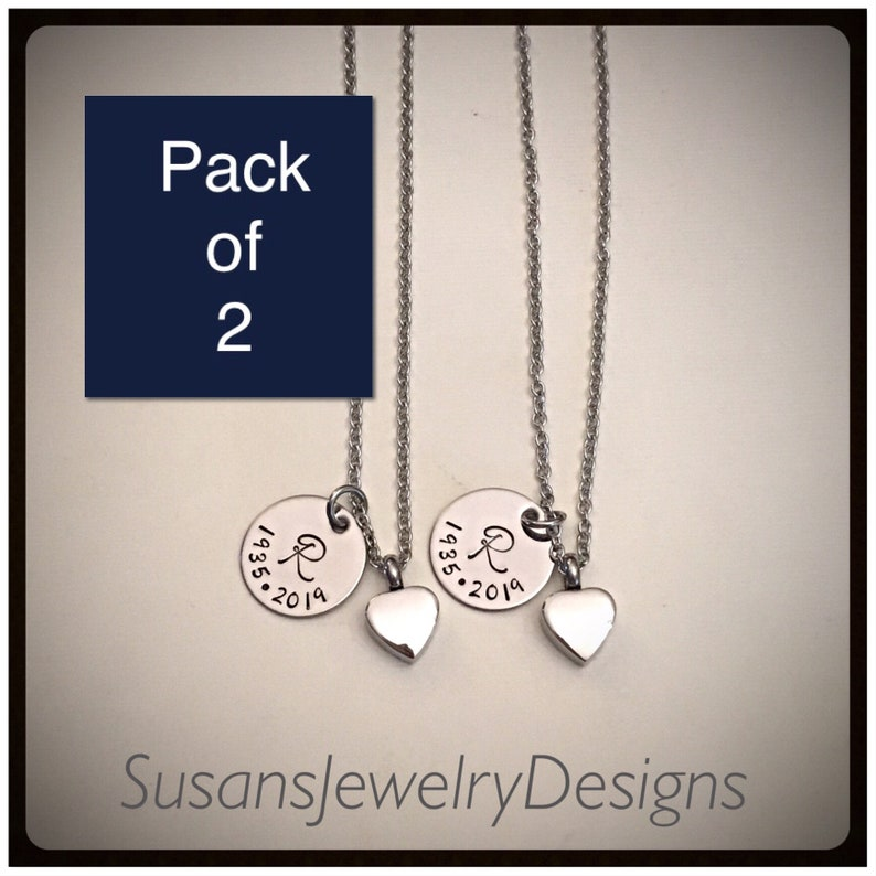 ash holder baby loss memorial necklace cremation jewelry Pack of 2 custom heart urn necklaces personalized keepsake stainless urn