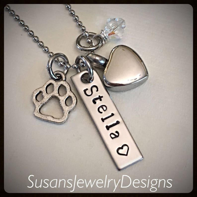 pet loss urn necklace cremation jewelry stainless urn Custom heart urn necklace ash personalized memorial keepsake paw print memorial