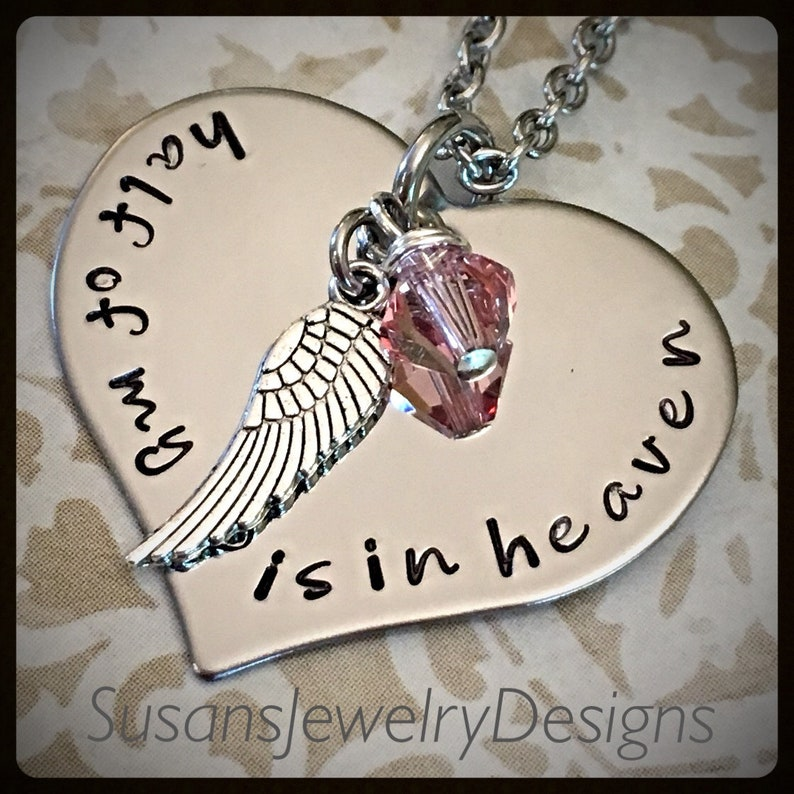 Custom memorial necklace pet loss baby loss personalized keepsake half of my heart is in heaven memorial jewelry stainless necklace