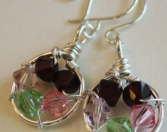 Family Nest Earrings - sterling silver - Swarovski birthstones - custom handmade wire wrapped jewelry