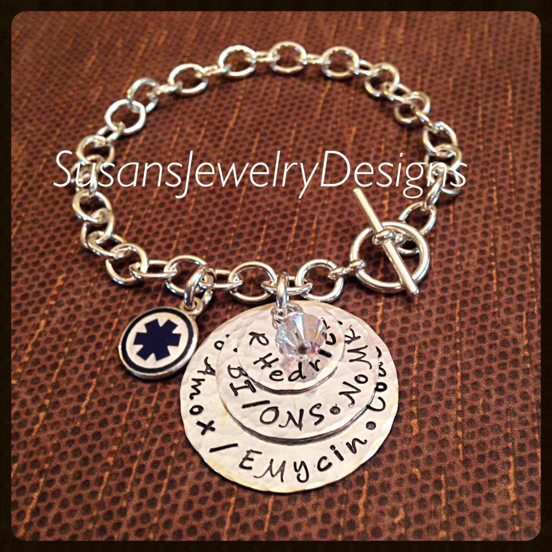 Toggle Charm Bracelet: Medical Alert Toggle Charm Bracelet Sterling Toggle