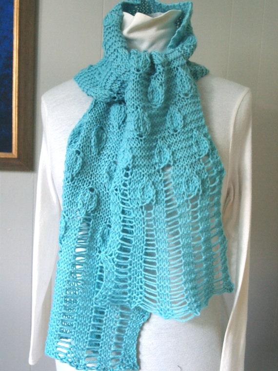 Mint Leaves Pdf Hand Knitting Scarf Pattern Etsy