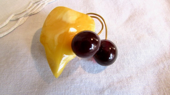 Amber leaf with Cherries Brooch