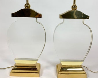 Vintage Lucite and Brass Silhouette-Form Lamps - a Pair