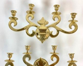 Vintage Mid-Century Four-Arm Brass Candle Sconces - a Pair