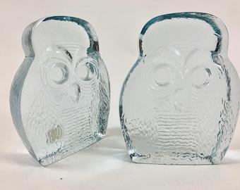 Pair of 1970's Joel Myers Blenko owl bookends