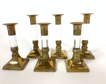 Vintage Brass and Lucite Candlestick Holders - Set of 6