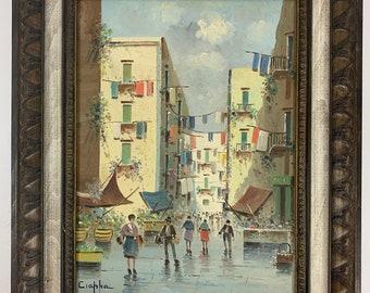 Vintage European Street Scene Painting Signed Ciappa