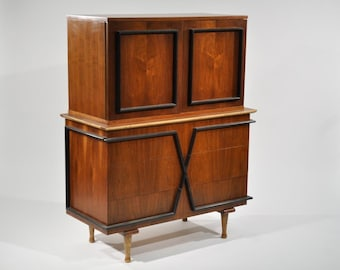 American of Martinsville Walnut X-Front Tall Chest