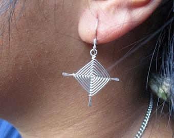 Hand Woven Sterling Silver Wire Earrings- Traditional Ojos Earrings