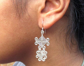 Hand Woven Sterling Silver Wire Earrings- Scroll Double Drop Ojos Earrings