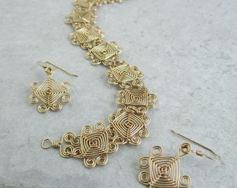 Hand Woven 14kt Gold Fill Wire Jewelry Set- Scroll Ojos Earrings and Bracelet Jewelry Set- gold