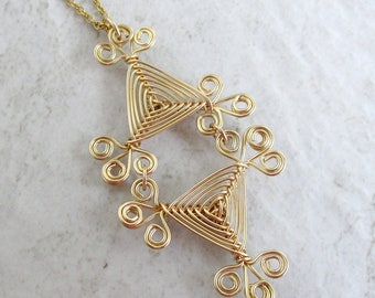 Hand Woven 14kt Wire Pendant- Filigree Scroll Double Triangle Ojos Pendant