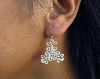 Hand Woven Sterling Silver Wire Earrings- Filigree Scroll Triangle Ojos Earrings