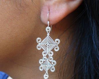Hand Woven Sterling Silver Wire Earrings- Scroll Eyes Double Drop Ojos Earrings