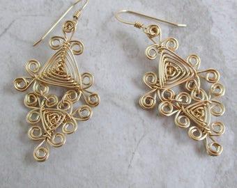 Hand Woven 14kt Wire Earrings- Filigree Double Drop Triangle Ojos Earrings