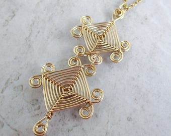 Hand Woven 14kt Wire Pendant- Double Scroll Ojos Pendant