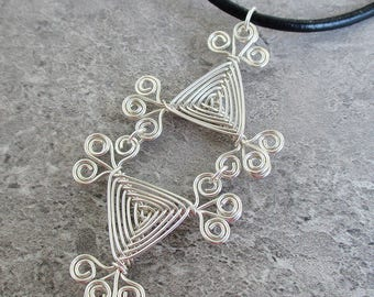 Hand Woven Sterling Silver Wire Pendant- Scroll Double Triangle Ojos Pendant