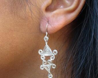 Hand Woven Sterling Silver Wire Earrings- Scroll Double Drop Triangle Ojos Earrings
