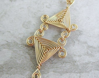 Hand Woven 14kt Wire Pendant- Scroll Double Triangle Ojos Pendant