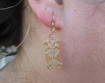 Hand Woven 14kt Gold Fill Wire Earrings- Narrow Links Ojos Earrings