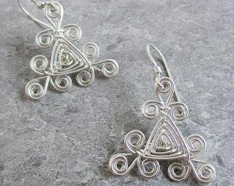 Hand Woven Sterling Silver Wire Earrings- Filigree Triangle Ojos Earrings