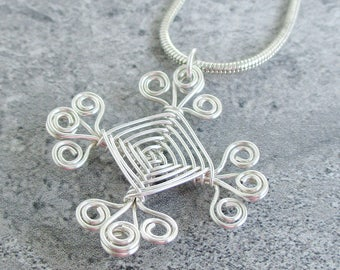 Hand Woven Sterling Silver Wire Pendant- Filigree Ojos Pendant