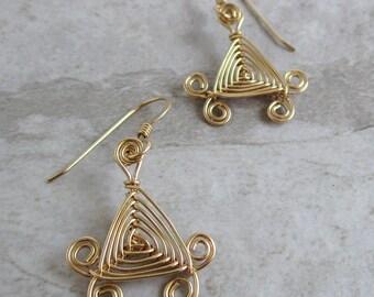 Hand Woven 14kt Wire Earrings- Scroll Triangle Ojos Earrings