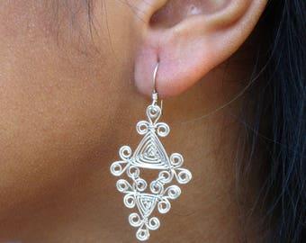 Hand Woven Sterling Silver Wire Earrings- Filigree Double Drop Triangle Ojos Earrings